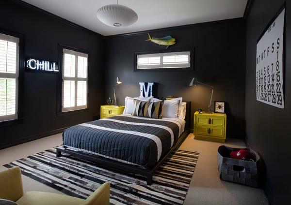Kinderzimmergestaltung In Schwarz Mit Gelben Nachttischen Und Bettwäsche  Gestreift In Weiß Und Schwarz