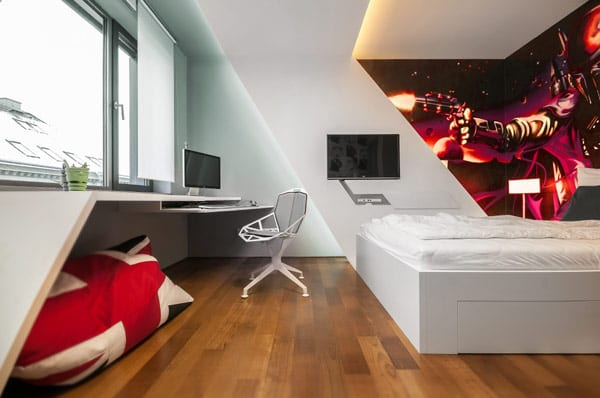 jugendzimmer ideen für moderne einrichtung in weiß mit indirekter beleuchtung und kreative wandgestaltung