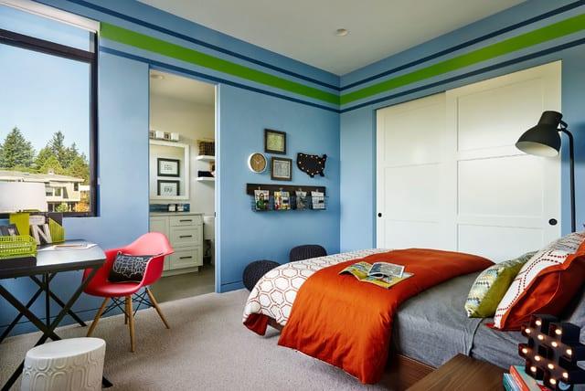 kreative kinderzimmergestaltung und coole kindersimmer streichen ideen in blau und grün