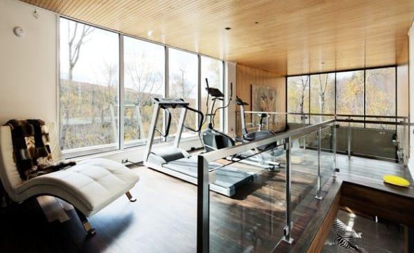 fitnessraum einrichten mit holzdecke und loungeliege aus leder weiß