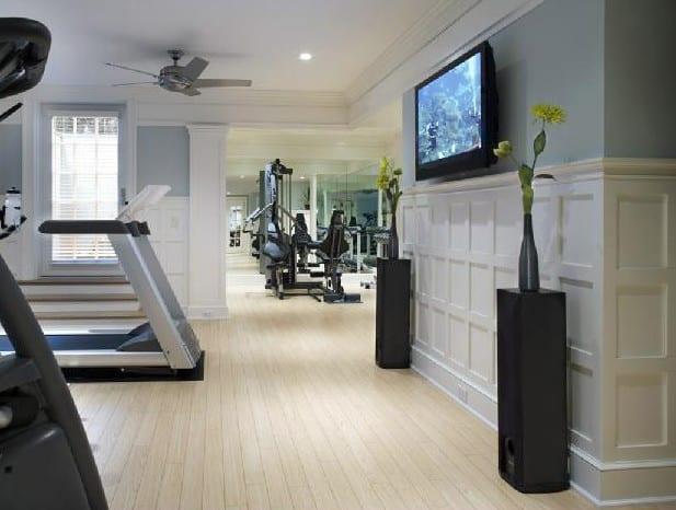 fitness zu hause einrichten mit wandfarbe grau