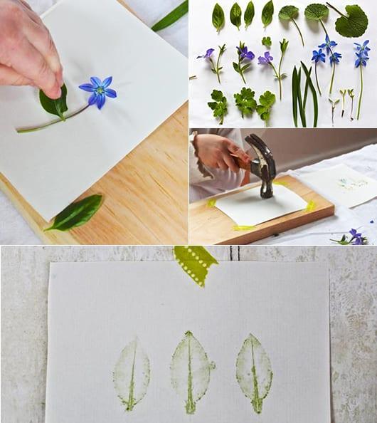 bastelideen für Wanddeko mit Blätter-abdrücken als kreative Dekoidee