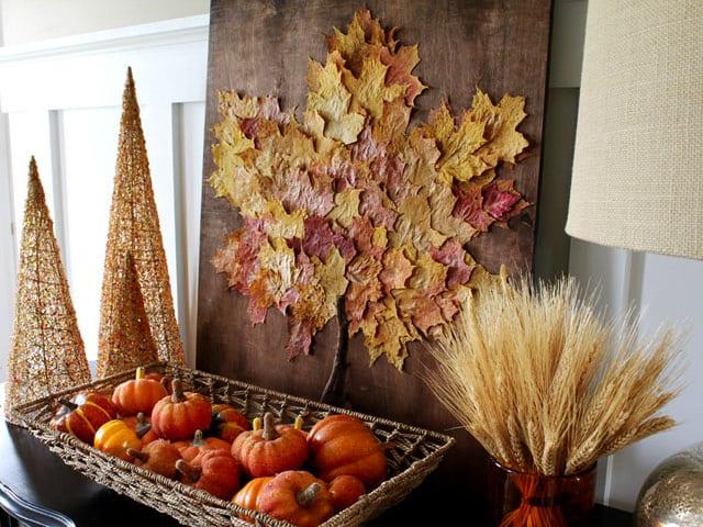 hebstdeko selber machen und sideboard kreativ dekorieren im herbst