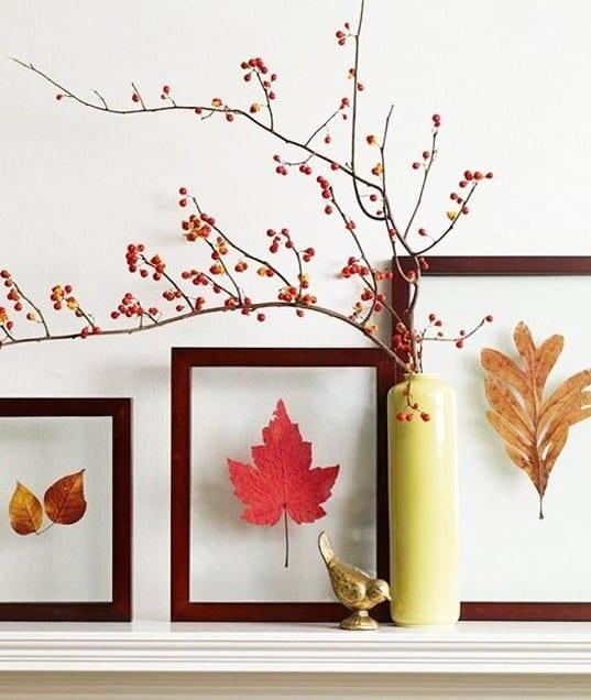 interessante herbstdeko basteln und coole idee für DIY Dekoration mit Bäume Blätter in Rahmen
