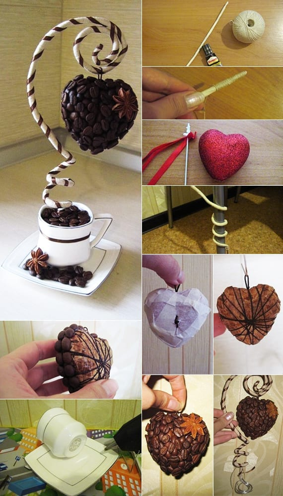 interessante idee und kreative bastelidee für deko mit kaffeebohnen