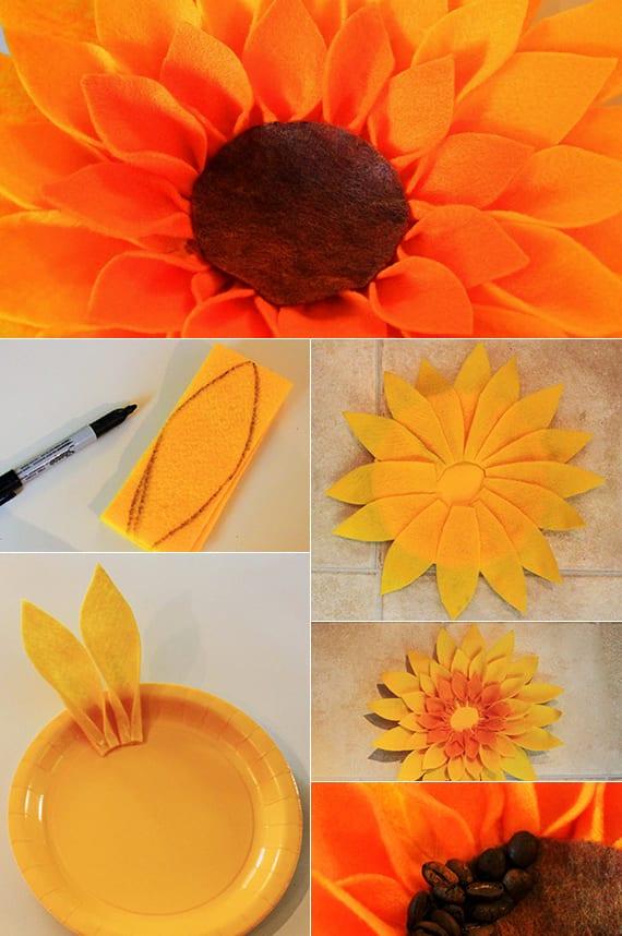bastelideen für Deko-Blumen aus Filz und Kaffeebohnen