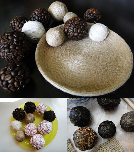 coole und moderne tischdeko mit Bällen aus Kaffeebohnen und seil