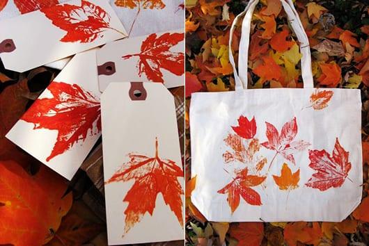 blätter basteln als coole bastelidee mit Blätter-Abdruck auf Textil und Papier
