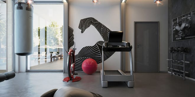 modernes fitnessstudion zu hause einrichten in grau freshouse. Black Bedroom Furniture Sets. Home Design Ideas