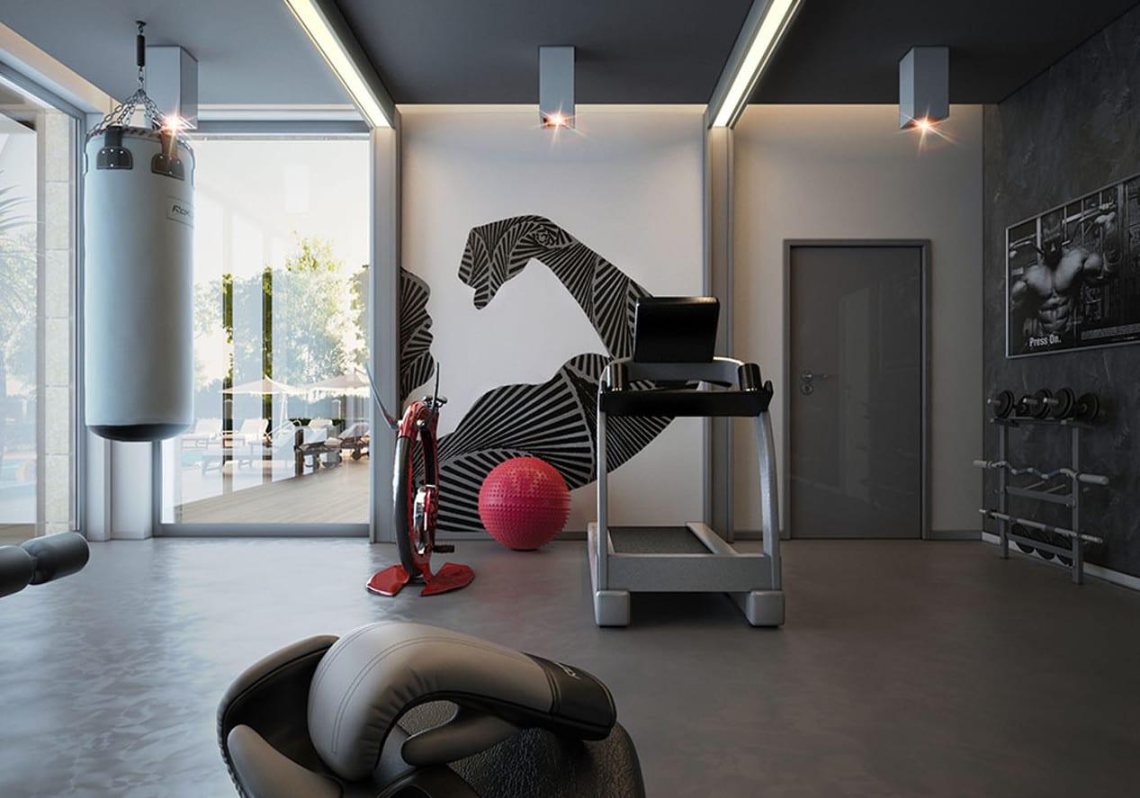 fitness gym zu hause gestalten mit wandfarbe grau und wandtattoo