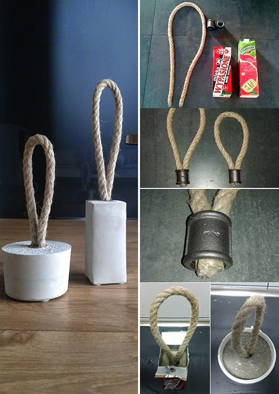 kreative türstopper selber machen_bastelideen mit beton für diy türstopper