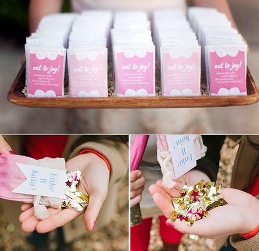 kreative ideen zur hochzeit und brautpaar verabschiedung mit goldenem stern-konfetti
