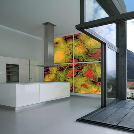 küche wandgestaltung mit Farbe als coole gestaltung und einrichtungsidee für moderne küchen weiß mit kochinsel und zugang zu holzterrasse