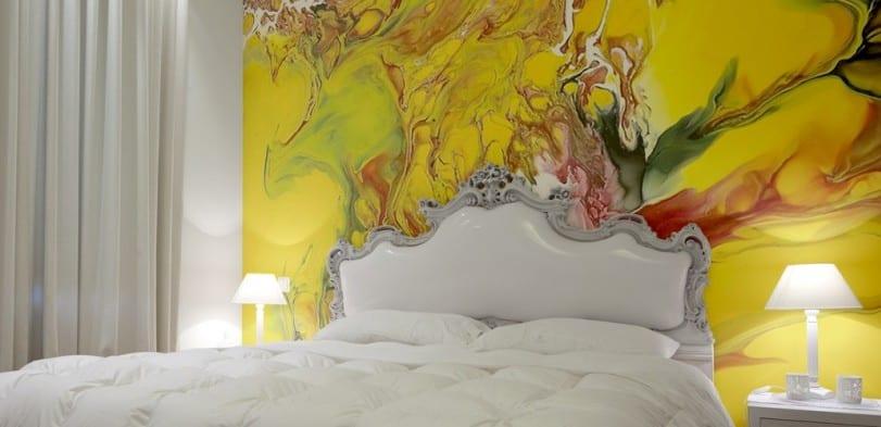 wandgestaltung schlafzimmer in gelb_ farbgestaltung in weiß und gelb als einrichtungsidee für gemütliche schlafzimmer