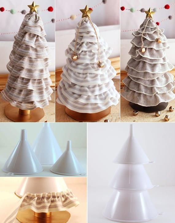 bastelideen weihnachten für dekorativen weihnachtsbäume als coole tischdeko weihnachten