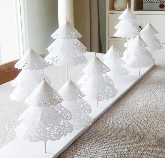 bastelideen weihnachten für coole deko weihnachten mit weißen christbäume aus papier