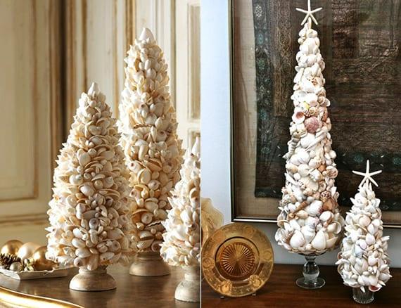 kreative dekoideen weihnachten für Tischdeko weihnachten mit Muscheln-weihnachtsbaum