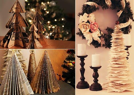 weihnachtsbaum aus papier basteln und tisch mit diy-christbaum dekorieren