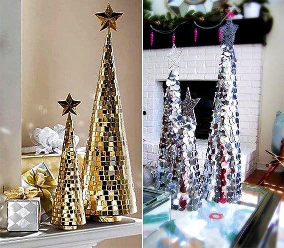 weihnachtsbaum basteln mit schmucksteinen als idee für Tischdeko weihnachten