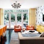 wohnideen wohnzimmer und wohnzimmer design mit farbakzent in orange und gelb für ein modernes townhouse interior