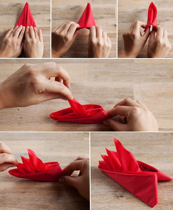 papierservietten falten für festliche und kreative tischdeko mit roten servitten