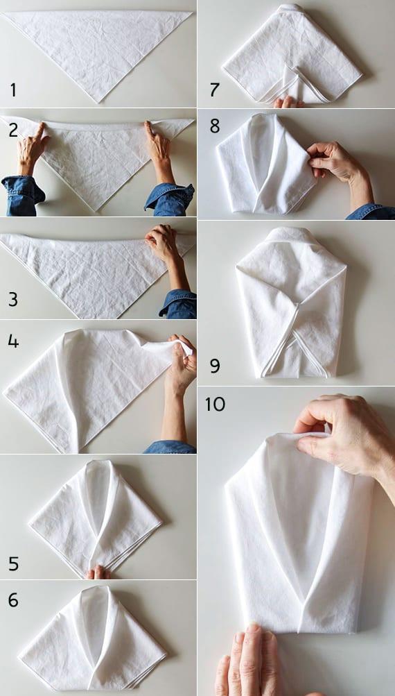 kreative tischdeko mit weißen servietten_serviettentechnik für smoking-servieten