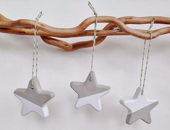weihnachtssterne basteln aus beton als coole dekoidee weihnachten