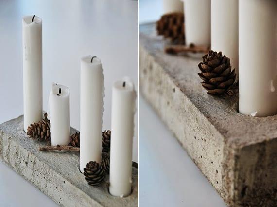 weihnachtsdeko basteln_moderne tischdeko weihnachten mit DIY-Kerzenhalter aus beton
