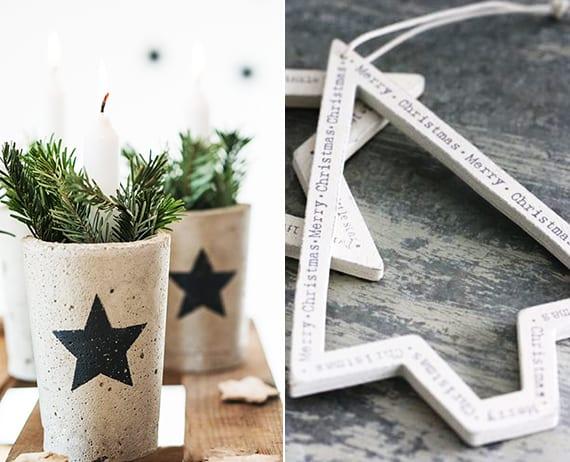 dekoideen weihnachten und weihnachtsdeko basteln mit beton