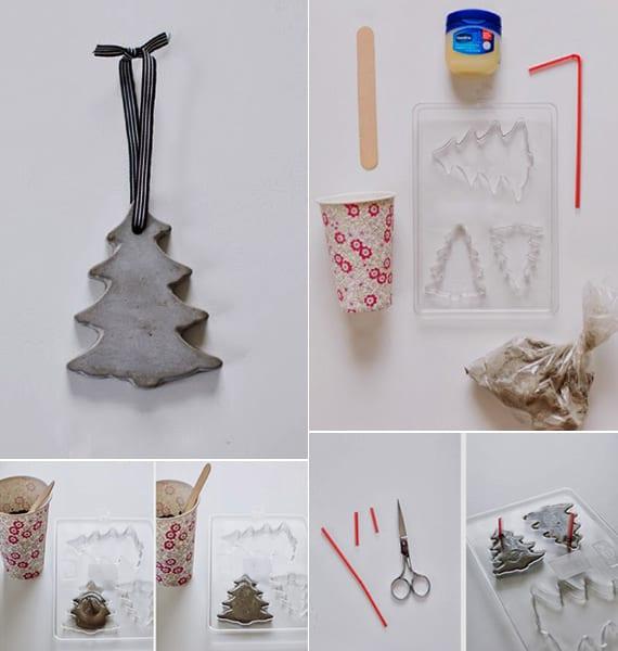 tannenbaum aus beton als weihnachtsdeko basteln