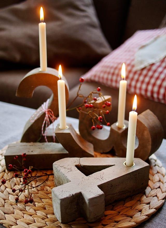 dekoideen und bastelideen weihnachten für DIY-Kerzenhalter aus beton