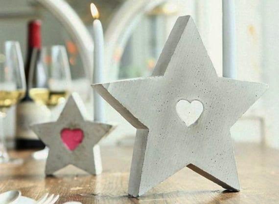 weihnachtsstern aus beton basteln und als kreative und moderne tischdeko weihnachten nutzen