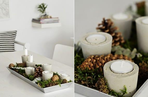 tisch weihnachtlich dekorieren mit DIY-Beton-kerzenhaltern