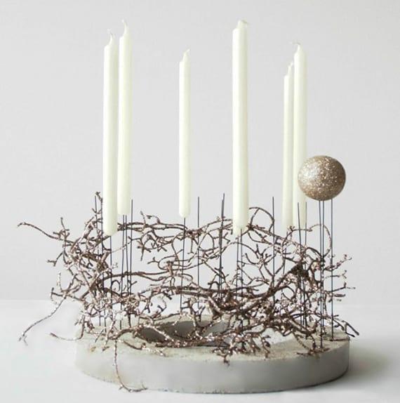 weihnachtsdeko basteln aus beton_kreative Dekoidee weihnachten für tischdeko weihnachten mit DIY-Kerzenhalter aus beton