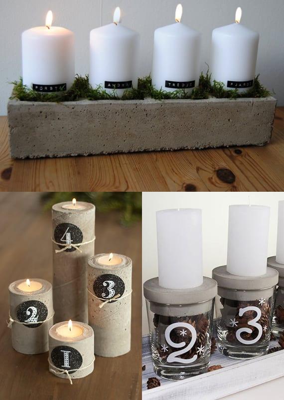 bastelideen weihnachten für DIY-Beton-Kerzenhalter