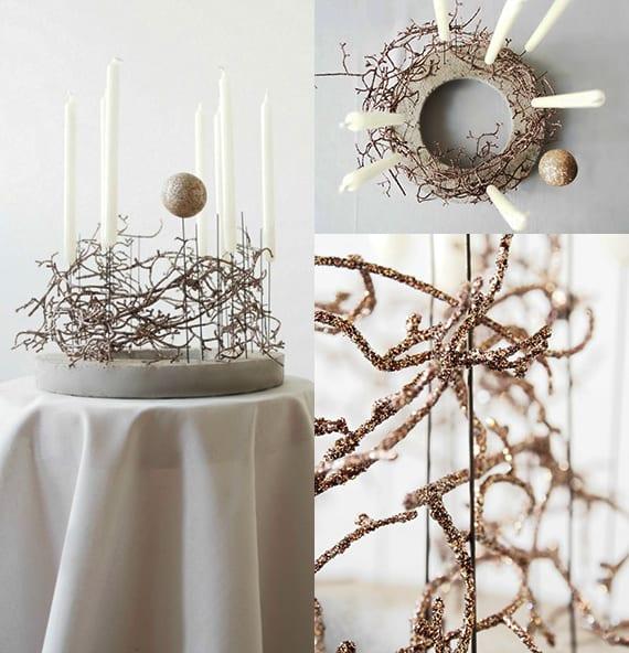 weihnachtsdeko basteln mit beton_bastelidee weihnachten für weihnachtliche tischdekoration