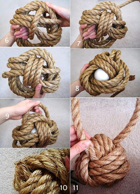 türstopper selber machen aus seil in form vom Knotten