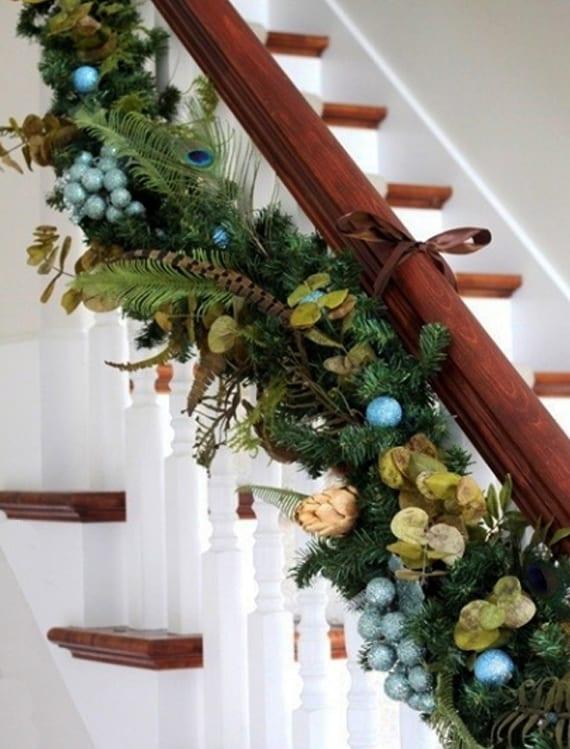 coole weihnachtsdekoration für treppengeländer