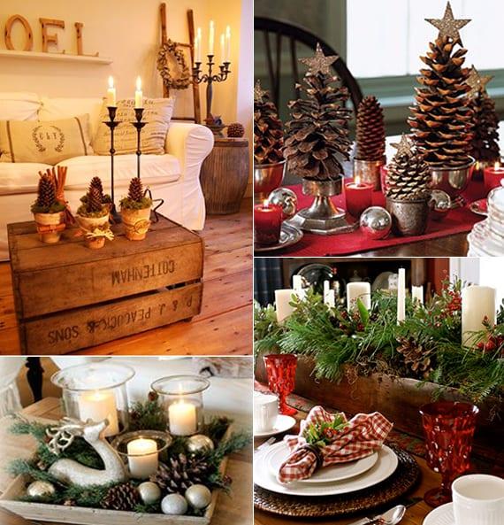 tischdeko weihnachten mit zapfen als coole weihnachstdeko ideen