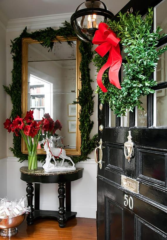 weihnachtsdeko ideen für den eingangsbereich und türkranz aus buchsbaum