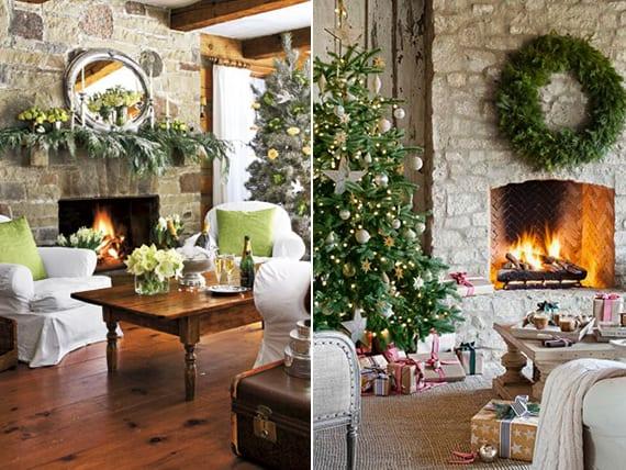 kamin-dekoideen zu weihnachten_kamin aus steil weihnachtlich dekorieren mit krank und tannenbaumzweigen