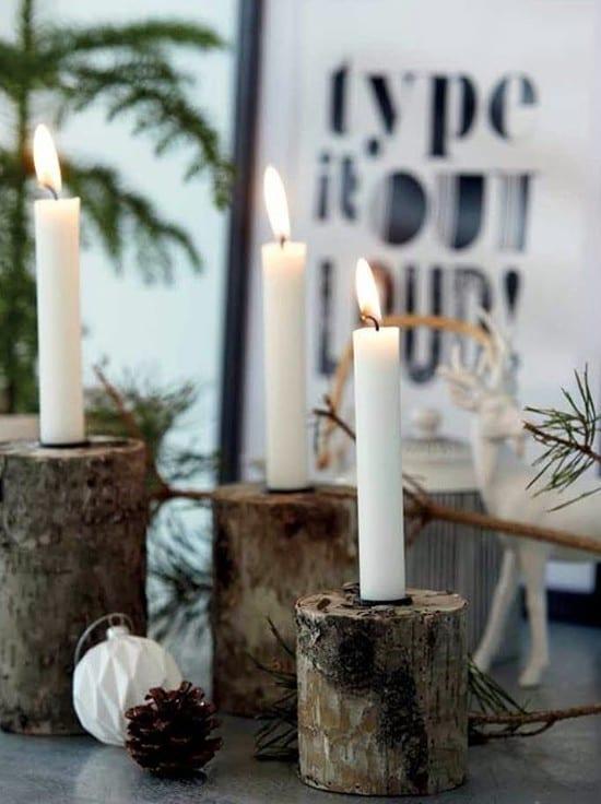 weihnachtdeko basteln mit holz_coole weihnachtsdekoration mit kerzenhalter aus rundholz