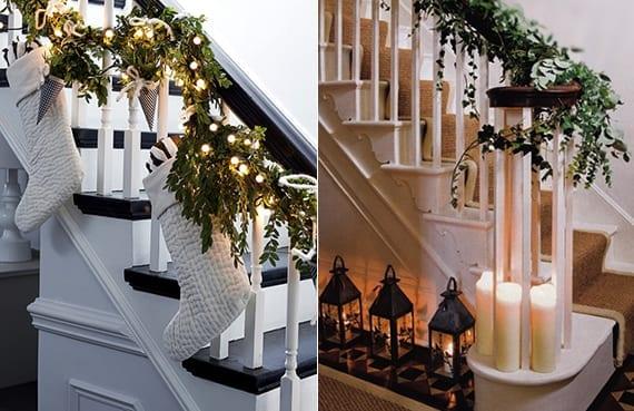treppe weihnachtlich dekorieren mit weißen weihnachtssocken und grünen pflanzen