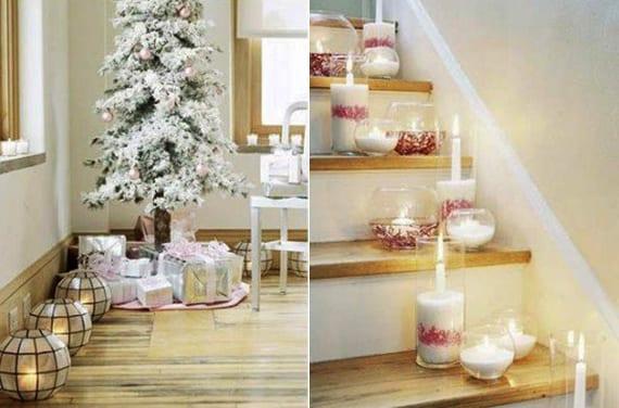 coole dekoideen mit kerzen und teelichthalter für fröhliche weihnachten überall