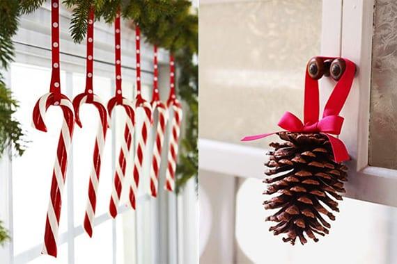fensterdeko weihnachten mit zapfen und zuckerstäbchen