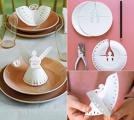 tischdeko ideen mit papierteller-engeln als platzschilder