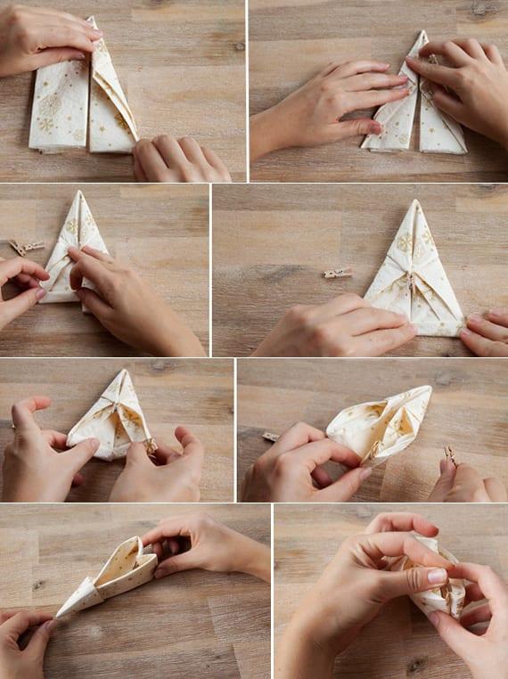 papierservietten falten als elefenschuh_coole serviettentechnik für festliche tischdeko weihnachten