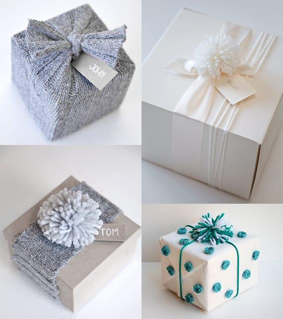 kreative geschenkverpackungen basteln aus garn und weihnachtsgeschenke originell verpacken