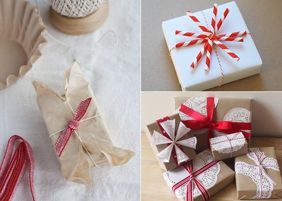kreative ideen zum Geschenk Verpacken in weiß und rot zu weihnachten