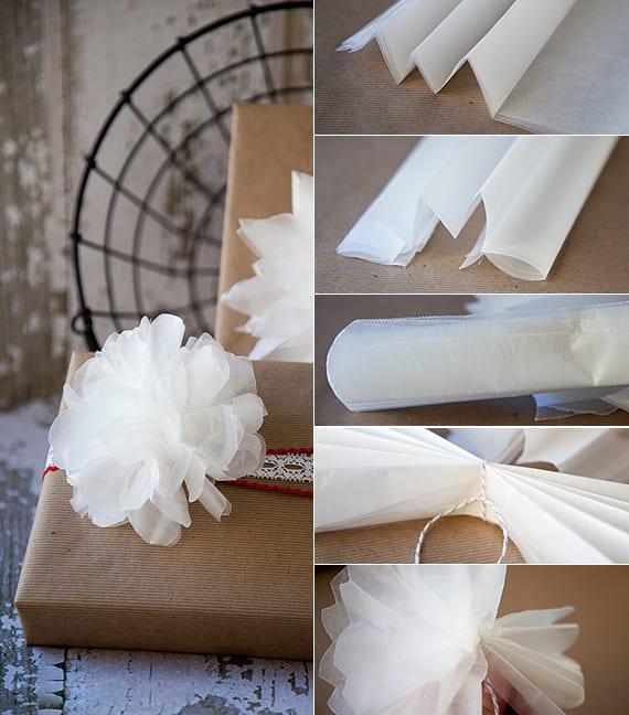 geschenke verpacken kreativ mit diy-papierblume